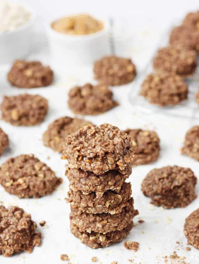 Crunchy Peanut Butter No-Bake Cookies -- I do not make crunchy peanut butter no-bake cookies very often because I can not resist eating the entire batch! These no-bake cookies take about 15 minutes from start to finish and have the perfect combination of peanut butter, chocolate, and oatmeal.   halfscratched.com #cookies #chocolate #peanutbutter #oatmeal #recipe #dessert