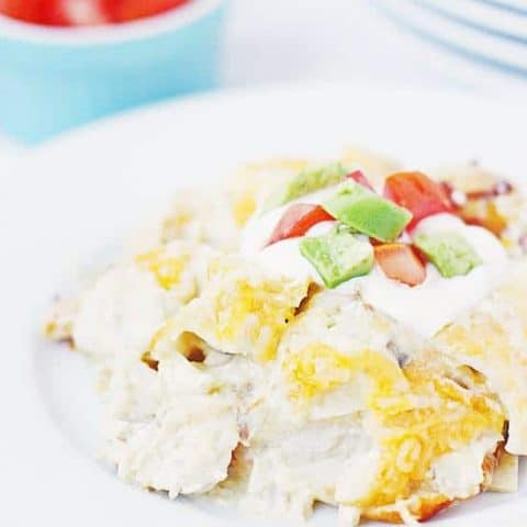 Easy Chicken Enchiladas -- NO LIE. These easy chicken enchiladas are the easiest, cheesiest, creamiest chicken enchiladas you can make! Always a hit with the family and perfect for a last-minute, easy weeknight meal! | halfscratched.com #chicken #enchiladas #mexican #mexicanrecipe