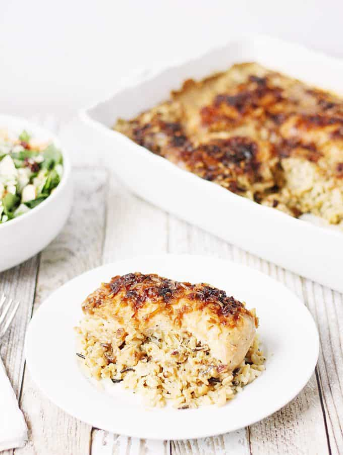 One-Pan No Peek Chicken and Rice -- One-pan no peek chicken and rice is sure to become a favorite family meal! Wild rice, soup, and chicken are combined in a single baking dish then baked to creamy chicken and rice perfection!   halfscratched.com #chicken #onepan #easyrecipe #maindish #dinner