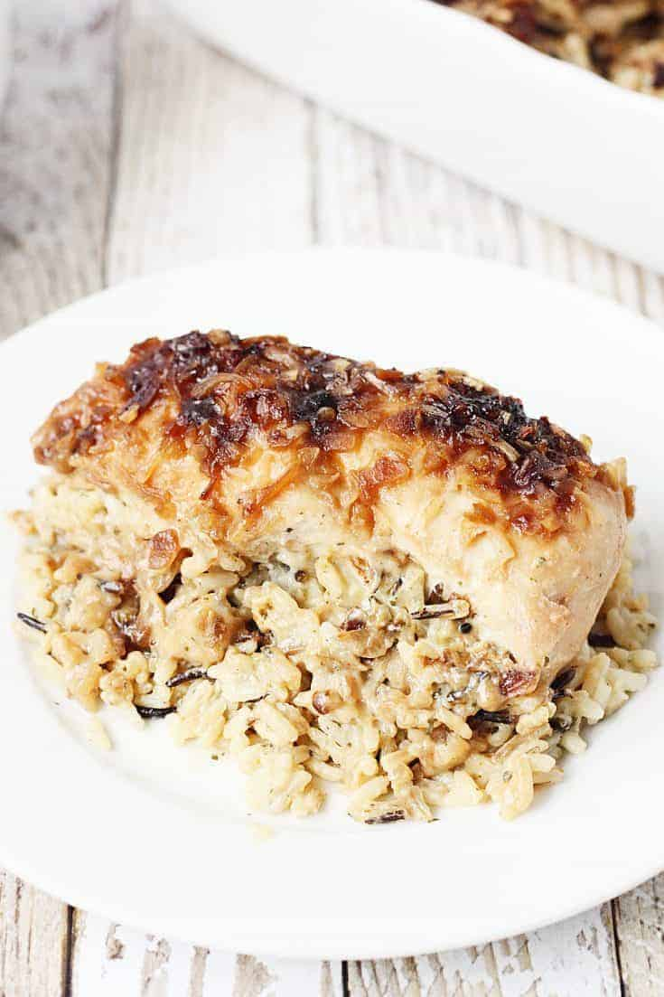 One-Pan No Peek Chicken and Rice -- One-pan no peek chicken and rice is sure to become a favorite family meal! Wild rice, soup, and chicken are combined in a single baking dish then baked to creamy chicken and rice perfection! | halfscratched.com #chicken #onepan #easyrecipe #maindish #dinner