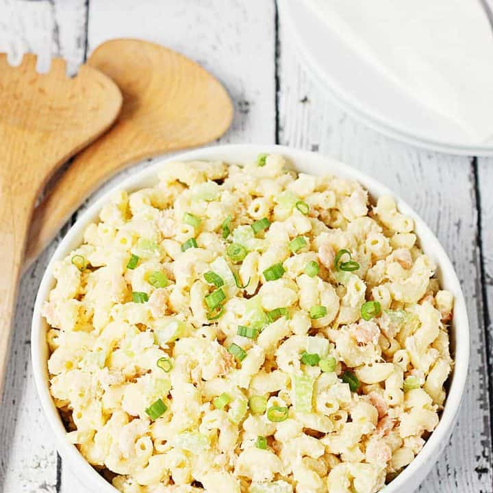 SHRIMP PASTA SALAD -- This shrimp pasta salad is a tasty way to switch up your typical macaroni or pasta salad. It takes a few more steps than your typical mac salad but it's so worth it!   halfscratched.com