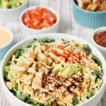 5-Minute Southwest BLT Chicken Salad -- This 5-minute southwest BLT chicken salad makes for an easy weeknight recipe. It's perfect for warm summer days or any time you need to quickly throw together a yummy, family-friendly meal! #salad #chicken #easyrecipe #sidedish #maindish #chickensalad #blt #halfscratched