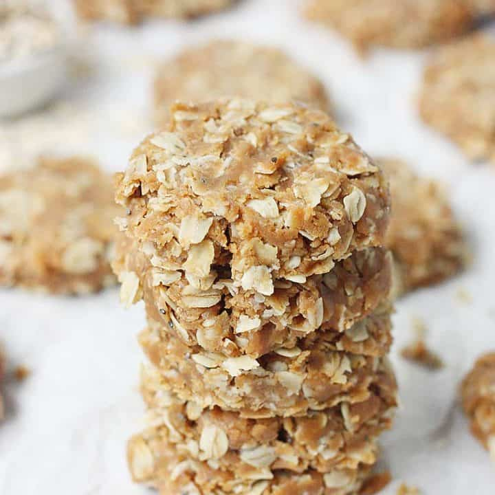 Healthy No Bake Peanut Butter Oatmeal Protein Cookies Half Scratched