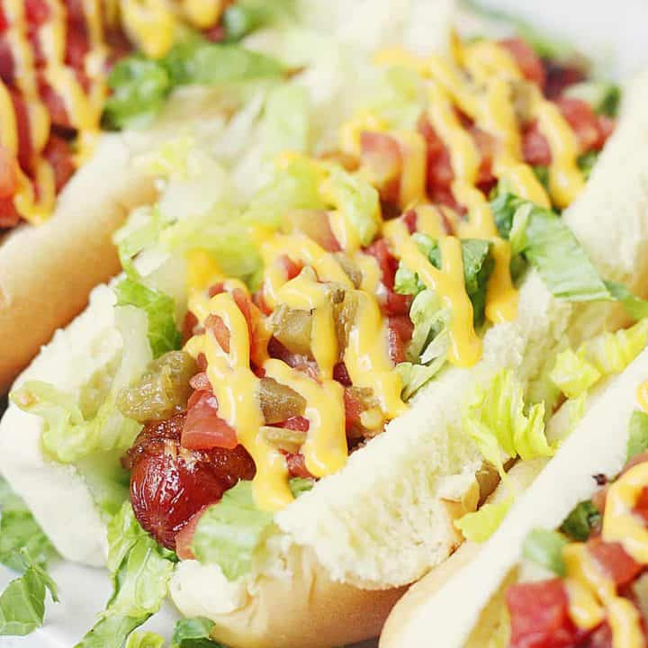 Spicy BLT Bacon-Wrapped Hot Dogs