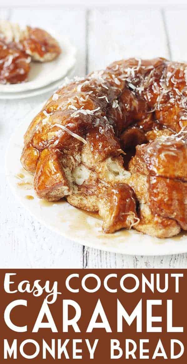 Easy Coconut Caramel Monkey Bread -- You'll want to lick every finger after eating this easy coconut caramel monkey bread! Pull-apart, cinnamon-coated bread is covered in gooey caramel sauce and sprinkled with sweet shredded coconut. It's to die for! #halfscratched #monkeybread #bread #dessert #easyrecipe #coconut #caramel