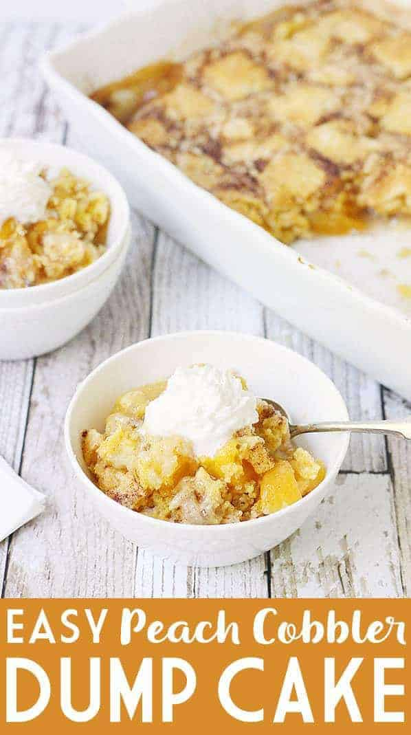 Easy peach cobbler dump cake is sure to become a summer staple! This mouthwatering peach cobbler recipe requires only four ingredients and five minutes of prep! #peach #peaches #peachcobbler #cobbler #easyrecipe #dessert #dumpcake #cake