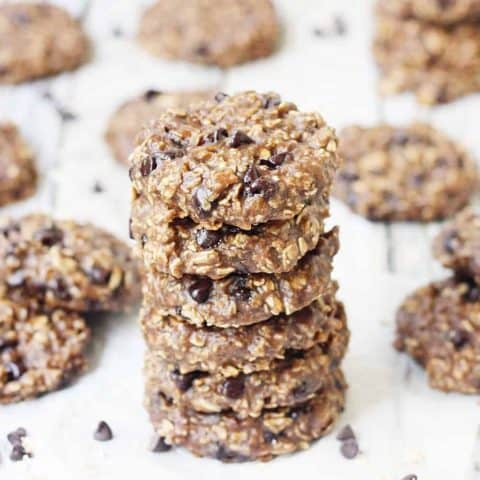 Double Chocolate Peanut Butter Protein Cookies - Double chocolate peanut butter protein cookies require only 5 ingredients and 5 minutes to prep. They're extra soft and chewy, delicious, AND gluten-free!