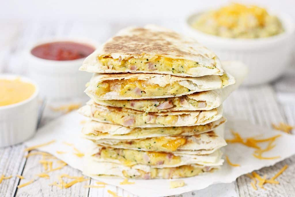 5-Minute Broccoli Ham & Cheese Quesadilla -- A quick and easy way to prepare a midweek meal and pack in some extra veggies.