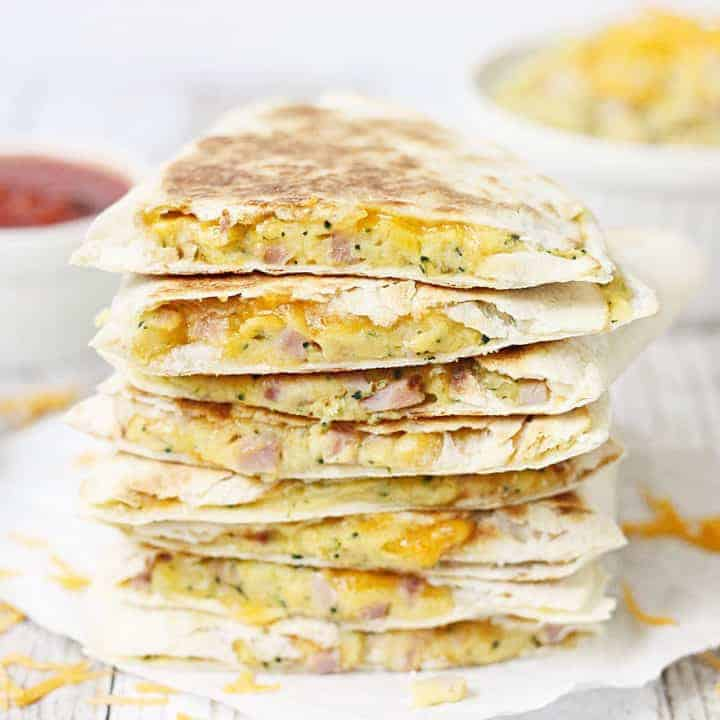 5-Minute Broccoli Ham & Cheese Quesadilla -- This 5-minute broccoli ham and cheese quesadilla is an easy weeknight meal and a tasty way to get your kids to eat their vegetables! This post is sponsored by Idaho Spuds