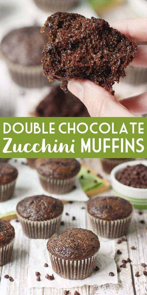 EASY Double Chocolate Zucchini Muffins -- Double chocolate zucchini muffins are easy, moist, and delicious thanks to a decadent chocolate cake mix, mini chocolate chips, and freshly grated zucchini! #zucchini #muffins #muffinrecipe #chocolate #chocolatechip #zucchinimuffins #zucchinirecipe #cakemix #halfscratched