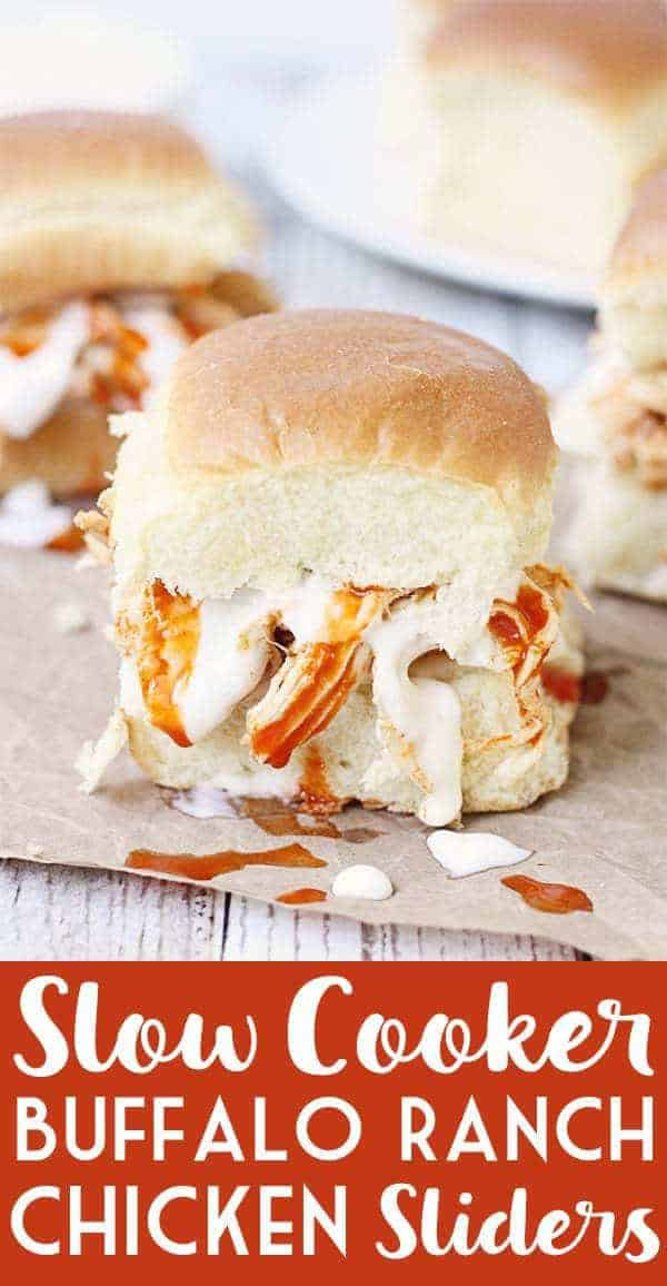 Slow Cooker Buffalo Ranch Chicken -- This slow cooker buffalo ranch chicken makes THE BEST sliders. Top with creamy blue cheese dressing and pepper jack cheese for the perfect party sandwich! #halfscratched #buffalochicken #sliders #sandwich #buffaloranch #slowcooker #crockpot #recipe #appetizer #chickensliders #chickensandwich #cooking #easyrecipe