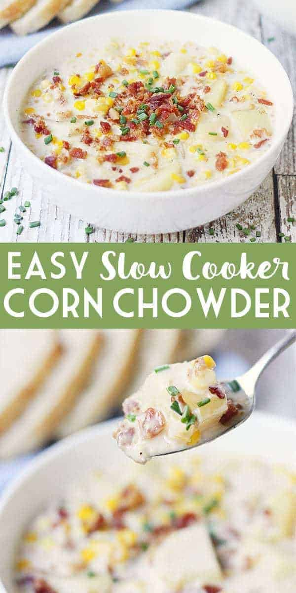 Easy Slow Cooker Corn Chowder - Slow cooker corn chowder is easier than you think! Only 15 minutes of prep and your trusty slow cooker for an easy corn chowder the entire family will love! #slowcooker #crockpot #chowder #cornchowder #easyrecipe #slowcookercornchowder #halfscratched #soup #souprecipe #maindish #corn