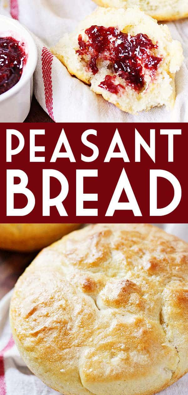 Peasant Bread -- We like this peasant bread so much—and it's so easy to make—I finally had to demand my daughter bake it only on Sundays. We can easily down two loaves! #halfscratched #rolls #recipe #bread #peasantbread