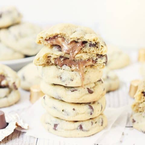Chocolate Chip Rolo Cookies - Chocolate chip Rolo cookies feature a soft, chewy chocolate chip cookie filled with an ooey, gooey Rolo center. These Rolo cookies will make you rethink the classic recipe! #cookies #halfscratched #rolo #rolocookies #dessert #easyrecipe #cookierecipe #chocolate #cookiedough #baking