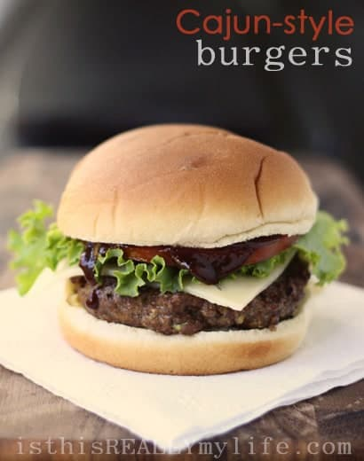 "Even though the title uses the word ""Cajun"" and the ingredients list includes Cajun seasoning, these burgers aren't spicy, just super deliciously flavorful. Cajun-style burgers FTW! #burger #hamburger #cajun #halfscratched #easyrecipe #bbq"