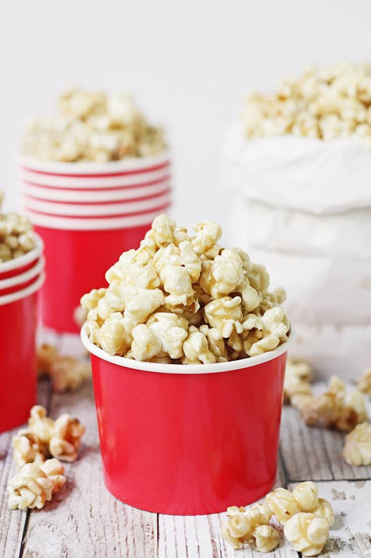 Easy Caramel Popcorn Recipe Half Scratched
