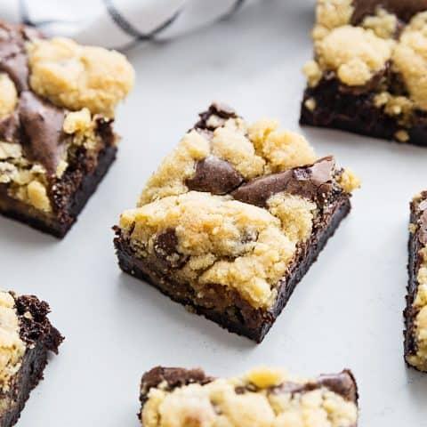 Easy Brookies Recipe - Craving a batch of freshly baked brookies? Satisfy your brownie and cookie cravings with one easy brookies recipe. Your sweet tooth will thank you! #brookies #cookies #brownies #chocolate #baking #dessert #halfscratched