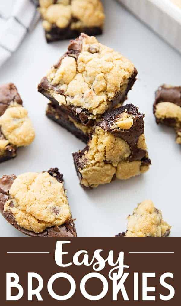Easy Brookies Recipe - Craving a batch of freshly baked brookies? Satisfy a serious brownie and cookie cravings with an easy brookies recipe. Your sweet tooth will thank you! #brookies #cookies #brownies #chocolate #baking #dessert #halfscratched