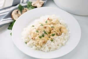 Slow Cooker Creamy Italian Chicken - Slow cooker creamy Italian chicken is easy, creamy, and comforting. You and your family will love this simple weeknight meal! #slowcooker #crockpot #chicken #recipe #chickenrecipe #halfscratched #italianchicken #cooking #easyrecipe